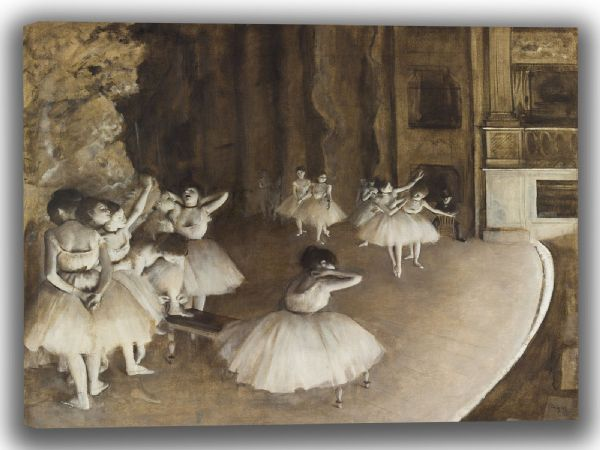 Degas, Edgar: Ballet Rehearsal on Stage. Fine Art Canvas. Sizes: A4/A3/A2/A1 (003738)